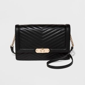 Quilted Flap Lock Crossbody Bag- A New Day - Black